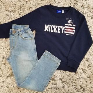 ディズニー(Disney)の130 セット コーデ トレーナー 裏起毛 ズボン デニム ディズニー ミッキー(Tシャツ/カットソー)