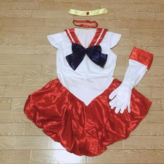 【レッド*Mサイズ】セーラーマーズ コスプレセット ワンピース(衣装一式)