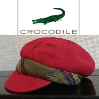 クロコダイル(Crocodile)のcrocodile クロコダイル キャスケット 赤 S コットン ウール(キャスケット)