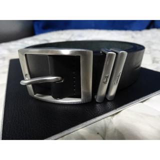 ポールスミス(Paul Smith)の美品 ポールスミス 牛革 レザー ベルト メンズ M 黒 シルバー バックル(ベルト)