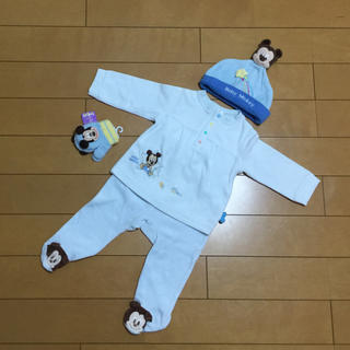 ディズニー(Disney)のディズニーミッキー ベビー 4点セット 帽子 手袋 Tシャツ 足つきズボン(その他)