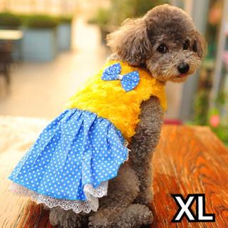 犬服 猫服 ペット服 ボア ドットリボン イエロー :XL(犬)