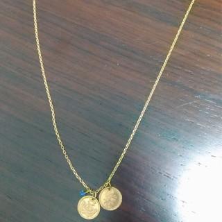 エスオーエスエフピー(S.O.S fp)のシンパシーオブソウル K10 ゴールドネックレス コイン サファイア 50センチ(ネックレス)