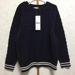 GU - 新品 GU ケーブル ニット セーター 120 ネイビー ジーユー お受験 紺