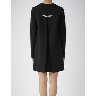 エストネーション(ESTNATION)のYOKO CHAN 新品 バックパール ボックスプリーツ ドレス 38 ブラック(ミニワンピース)