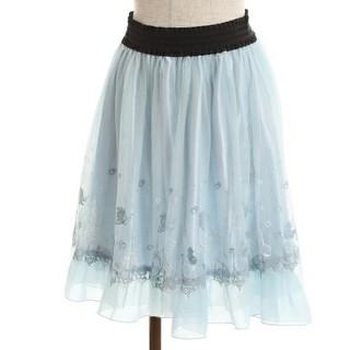 アクシーズファム(axes femme)のアクシーズファム リトルマーメイドコレクション 刺繍チュールスカート グリーン(ひざ丈スカート)