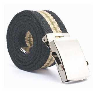 黒 ブラック 3ライン ガチャベルト GIベルト125cm 綿100% トレンド(ベルト)