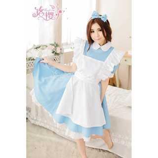 【おまけ】アリス コスプレ メイド服 カチューシャ 付 3点 セット ハロウィン(衣装一式)