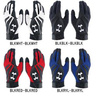 アンダーアーマー(UNDER ARMOUR)のラスト1 アンダーアーマー バッティング 手袋  MD 両手 ブラック ホワイト(グローブ)