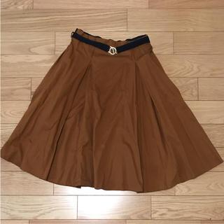 ザラ(ZARA)の【美品】ZARA 茶色 ミディ丈スカート(ひざ丈スカート)