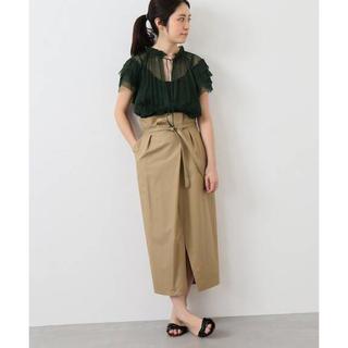 イエナ(IENA)のIENA タックラップスカート 美品(ひざ丈スカート)