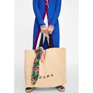 ザラ(ZARA)の完売品 ザラ ロゴ ジュート トートバッグ ショップバッグ 麻バッグ ショッパー(トートバッグ)