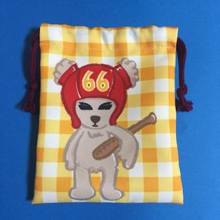トウホクラクテンゴールデンイーグルス(東北楽天ゴールデンイーグルス)の#66 村林一輝 手描きベア巾着(応援グッズ)