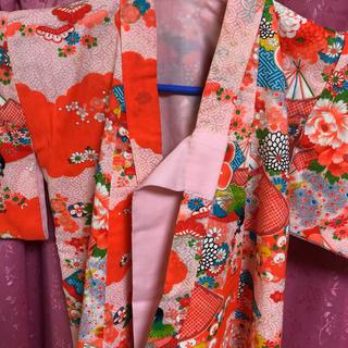 子供着物アンティーク手縫い(和服/着物)