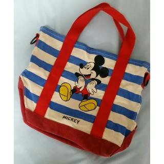 ディズニー(Disney)のミッキー バッグ ボーダー コットン ディズニー 赤 青(ハンドバッグ)