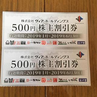 ヴィア・ホールディングス株主割引券1000円分(レストラン/食事券)