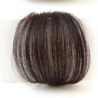 前髪ウィッグ100%人毛 サイドなしダークブラウン人毛100% 総手植え(前髪ウィッグ)