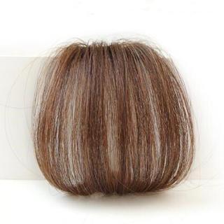 前髪ウィッグ100%人毛 サイドなしナライトブラウン人毛100% 総手植え(前髪ウィッグ)