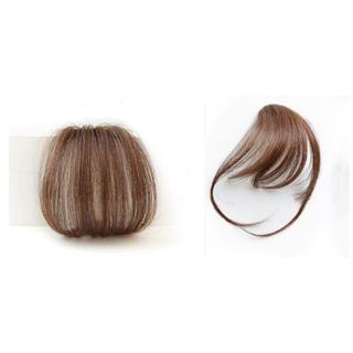 前髪ウィッグ100%人毛 サイドあり&サイドなし二個セットライブブラウン(前髪ウィッグ)