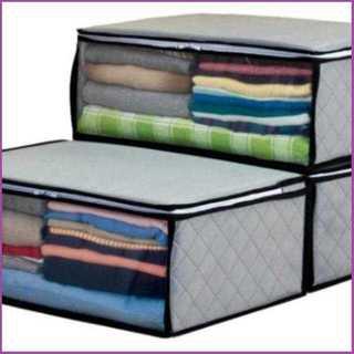 【新生活応援♪】衣類整理袋 3枚組 グレー 不織布製(押し入れ収納/ハンガー)