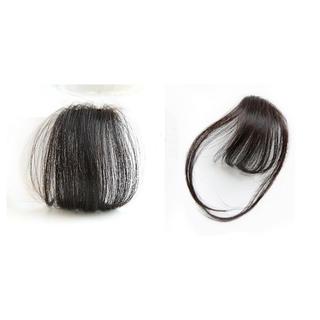 前髪ウィッグ100%人毛 サイドあり&サイドなし二個セットナチュラルブラック(前髪ウィッグ)