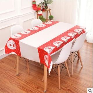 赤色サンタ クリスマスデコレーションテーブルクロスカバー(テーブル用品)