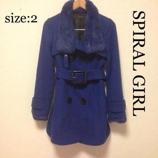 SPIRAL GIRL - 値下げ SPIRAL GIRL ブルー ファー付き 2way コート
