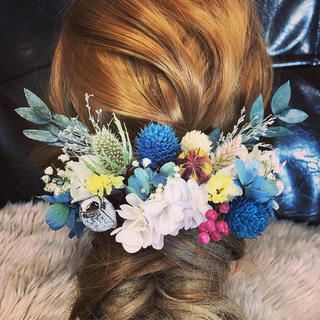 ヘッドドレス ウェディング 結婚式 ドライフラワー 前撮り プリザーブドフラワー(ヘッドドレス/ドレス)