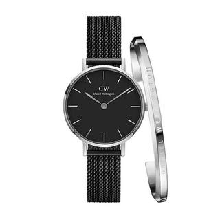 ダニエルウェリントン(Daniel Wellington)の【ブラック32MM】 ダニエルウェリントン ブラック 腕時計 シルバー バングル(腕時計)