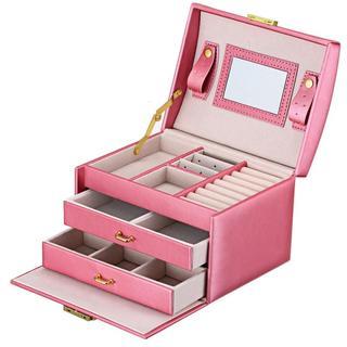 新品★ ジュエリーボックス ミラー付で大容量  ピンク 132(ケース/ボックス)