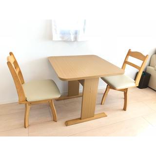ニトリ(ニトリ)のニトリ ダイニングテーブル+回転イス2脚セット(ダイニングテーブル)
