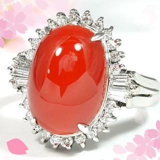 PT900サンゴ/ダイヤモンド0.30ctリング 3月誕生石珊瑚 CM016(リング(指輪))