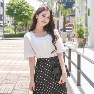 GOGOSING - スクエアブラウス 韓国ファッション ホワイト