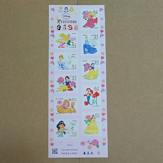 ディズニー(Disney)のディズニー プリンセス 切手シート(切手/官製はがき)