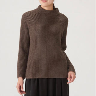 MUJI (無印良品) - 無印良品 畦編みセーター ニット ヤク入りウール Lサイズ
