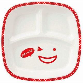 ノーティー(Naughty)のノーティー スクエアランチプレート 赤 レッド お子様ランチ皿 軽くて割れにくい(食器)