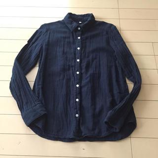 MUJI (無印良品) - 無印良品☆ダブルガーゼ長袖シャツ☆ネイビー綿100%