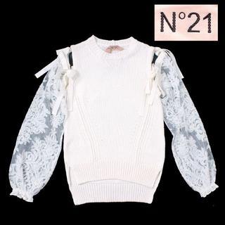 ヌメロヴェントゥーノ(N°21)のN°21 numero ventuno レース スリーブ ニット 36 ホワイト(ニット/セーター)