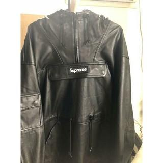 シュプリーム(Supreme)のL 黒 supreme leather anorak(レザージャケット)