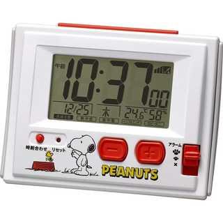 スヌーピー 目覚まし時計 電波時計 温度・湿度計付き(置時計)