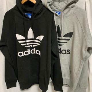 adidas - アディダス パーカー 黒 灰色 2点セット