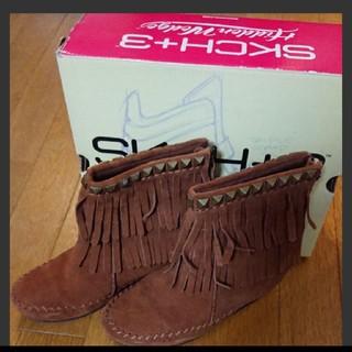 スケッチャーズ(SKECHERS)の美品  SKECHERS  ブーツ  スエード  ブラウン  24cm(ブーツ)