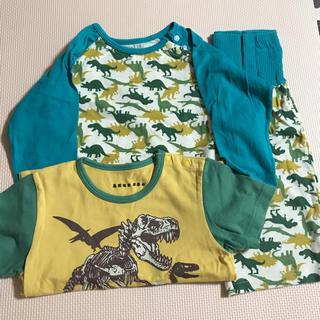 ニッセン(ニッセン)の腹巻きつき 恐竜 パジャマ3点セット 男の子  90cm(パジャマ)
