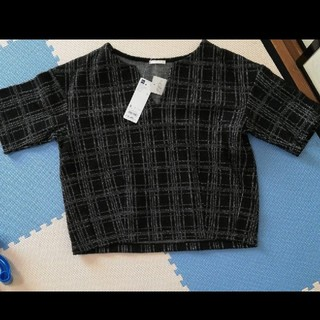 ジーユー(GU)の新品GU ツイードプルオーバーsサイズ(カットソー(半袖/袖なし))