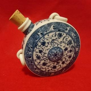 骨董品  円形ボトル陶器(陶芸)