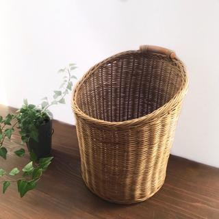 ラタン かご 筒形 ゴミ箱 鉢カバー ダストボックス 屑入れ 収納(バスケット/かご)