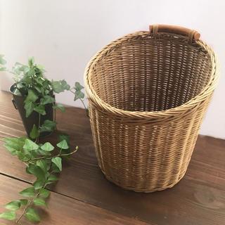 ラタン かご 筒形 Mサイズ ゴミ箱 鉢カバー ダストボックス  屑入れ 収納(バスケット/かご)