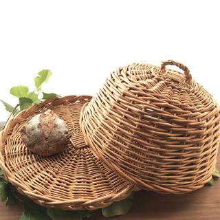 柳 かご フードカバー パンかご お菓子入れ 蓋付きかご 丸いトレー 収納(バスケット/かご)