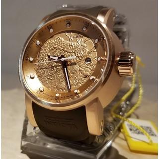 インビクタ(INVICTA)のInvicta 48mm ヤクザ ドラゴン ローズゴールドケース&ブラウンラバー(腕時計(アナログ))