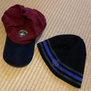 トミーヒルフィガー(TOMMY HILFIGER)のトミーヒルフィガー 帽子 2点セット キャップ ニット帽 ボルドー ブルー(ニット帽/ビーニー)